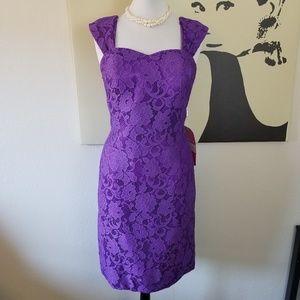 Zinnia Elegans Purple Lace Corset Dress